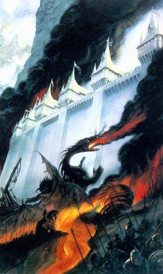 Dragon in battle by John Howe