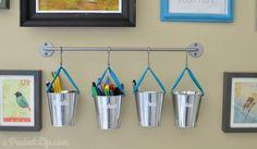 Metal Dollar Spot buckets used for vertical craft room storage - Bygel Rail System