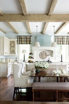 interior design, design homes, home interiors, exposed beams, wing chairs, ceiling beams, cafe curtains, country kitchens, buffalo check