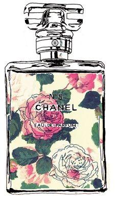 bottl, chanel, illustrations, art, perfume, floral designs, flower, fashion model, print