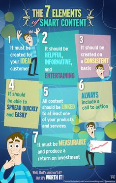 Content marketing tips: 7 elements of smart content #infographic #content #social