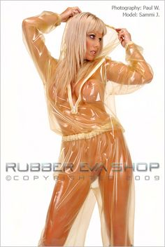 This is an all-in-one rubber jogging suit with drawstring hood. It has a front zip and elasticated waist, wrists and ankles. Perfect for lounging about the house or a walk in the park. A small extra charge applies to larger sizes due to more rubber being needed.