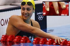 Even Women of Olympic Swimming are sporting their nail art in the 2012 London Games. #StephanieRice, Australia. - DIY nail art designs.