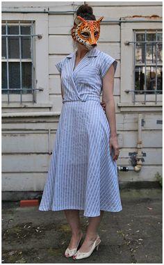 Vintage Cut Out Back Day Dress  sz L/XL by animalheadvintage, $64.00