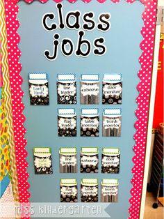 Miss Kindergarten - cute classroom job chart