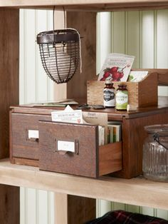 Great idea: borrow a library card catalog to hold vegetable seed packets.  #gardening #storage
