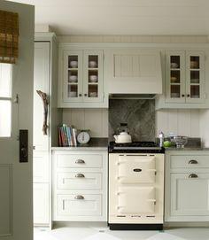 Paneled walls and hood- Benjamin Moore Morning Dew;  Cabinets- Benjamin Moore Vale Mist