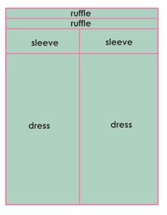 layout on how to cut fabric for peasant dress