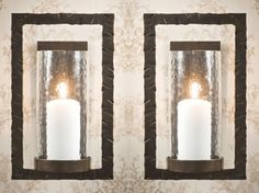 ME2279 - Bronze Iron Rectangle Wall Sconce, Set of 2 - Candle Holders