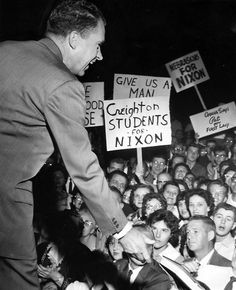 """Vice President Richard M. Nixon was greeted by a crowd of 900 at Eppley Airfield when his plane landed just after 1:30 a.m. on Sept. 16, 1960. Despite the late hour, Nixon still made a short speech. According to The World-Herald, he said, """"I had thought this would be a rather quiet little airport arrival. This enthusiasm really speaks well for the future."""" THE WORLD-HERALD"""