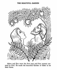 Adam & Eve Bible Story Colouring Page adam and eve coloring page