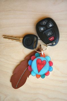 Shrinky Dinks Mother's Day keychain