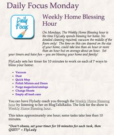 Daily Focus: Monday: Weekly Home Blessing Hour
