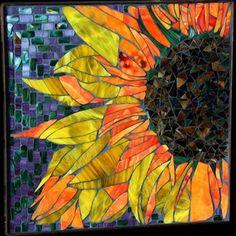 glass flowers, mosaicart, backsplash ideas, mosaics, sunflowers