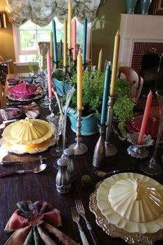 casual elegant candelabra table setting