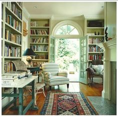 dream library in a cottage, striped chair
