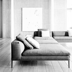 Grey. Sectional. Sofa. Living Space. Spacious. Minimalist. Home. Decor. Design. Interior.