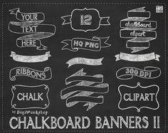 """Chalkboard clipart  """"CHALKBOARD BANNERS II"""" pack with chalkboard banners, chalkboard ribbons.(+ black & green chalkboard background)"""