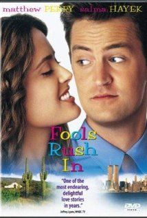 """352 Days of Romantic Films:Till Valentine's:... FOOLS RUSH IN... Hollywood Formula Rom-Com has quality elements across the board, that's why it works.'LOVE STORY Ad LAS VEGAS HEAT' Classic fish out of water/opposites attract story. Explores cultural, ethnic, familial & career issues AFTER quickie Vegas chapel ceremony.  POV stuffy ivy leaguer Matthew Perry, cue Salma Hayek as vegas latina love interest. Elvis isn't only good music. QT:""""these things are usually worked out before the 2nd date""""."""