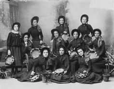 Band members from the Brighton Road, Highgate Hill Salvation Army Girls' Band (photo undated). #Victorian #vintage #women #Australia