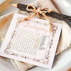 holiday, diy crafts, thanksgiv word, word search, fall, thanksgiving table, cards diy, thanksgiving place cards, parti