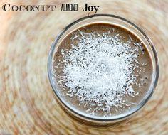 Coconut almond smoothie #vegan - yum! for protein powder use Nutiva Chocolate Hemp Protein Powder