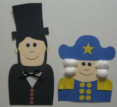 Cute ideas for Abraham Lincoln and George Washington templates for a Presidents' Day project and bulletin board display.