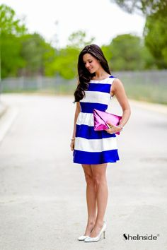 Blue Scoop Neck Dress