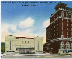 "Asheville Auditorium and George Vanderbilt Hotel, Asheville, N.C. - North Carolina Postcards. Now, this theatre is known as the ""Thomas Wolfe Auditorium"", and this lovely facade is actually indoors, inside the entrance to the US Cellular Center. (It's a shame, if you ask me - I love this Art Deco look)."
