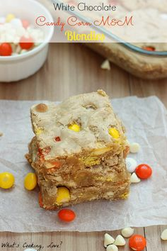 White Chocolate Candy Corn M&M Blondies - Whats Cooking Love?