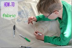 DIY: Custom fabric (with Sharpies)...ok, kids! Here come your new curtains!