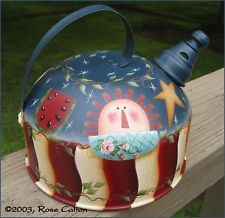 HP AMERICANA-TEA KETTLE SHEEP-SALTBOX HOUSE-GINGERBREAD Painted by Rose Calton