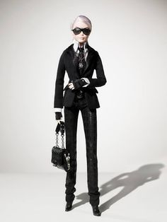 Karl Lagerfeld Barbie ~ The Platinum-label Barbie doll will be available in limited quantities (only 999 dolls will be produced) for approximately $200 USD through exclusive retail channels including: select KARL LAGERFELD retail stores, TheBarbieCollection.com, NET-A-PORTER.COM and Colette in Paris.