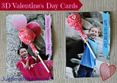 3D Valentine's Day Cards.  Personalize your Valentine cards for school with your child's photo and a lollipop.  Also other cute ideas for Vday cards!