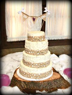 Adorable Wedding Cake with polka dots & burlap. #rustic wedding at the Abe Martin Lodge in Brown County State Park.  - Allison Peabody Hall