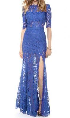 Elegant Open Back Slit Design Half Sleeve Blue Dress