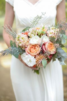 Fall bouquet | Read More: http://www.stylemepretty.com/little-black-book-blog/2014/08/26/rustic-hay-ride-wedding-at-rileys-farm/ | Photography: Alders Photography - aldersphotography.com