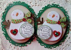 Christmas Snowman Embellishments-Set Of 2-002 on Etsy, $4.99