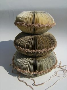Book sculptures (curved and crocheted) by artist Phiona Richards. via daily art muse