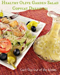Healthy Olive Garden Salad Copycat Dressings - fantastic healthier versions of two copycat recipes - #salad #olivegarden #sidedish #saladdressing #glutenfree via Can't Stay Out of the Kitchen