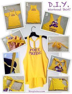 craft, diy shirt, workout shirts, workout gear, old shirts, tee shirts, running shirts, tank, old t shirts
