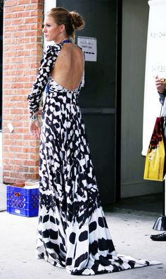 Black and white backless dress.