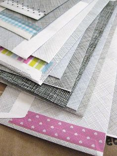 Reversed junk mail envelopes with washi tape