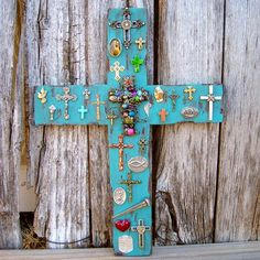 Turquoise Wood Cross with Charms