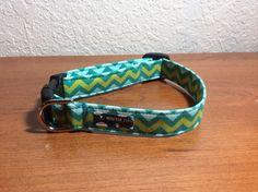 Blue Green Chevron Dog Collar