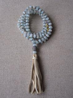 The Medina- Blue Opal and Labradorite Cz/Tassel Necklace