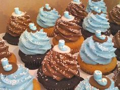 Cute blue and brown cupcakes