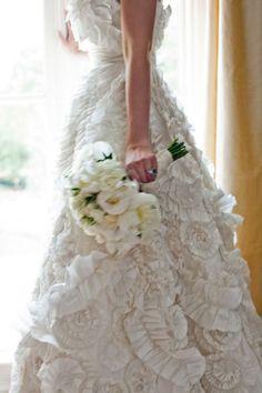 wow what a dress, layered lace wedding dress