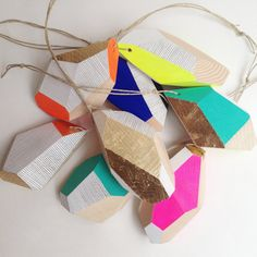 Geometric Wooden Ornament / Hand painted / Christmas Decoration / Single Color / MADE TO ORDER