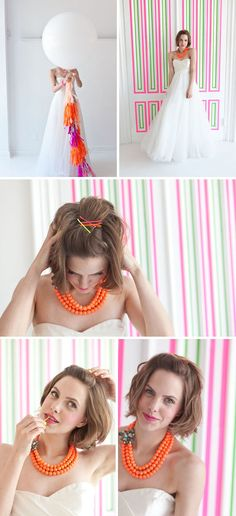 Maybe try to find the necklace style in lots of different bright colors and have that theme color for each bridesmaid to match the flowers and shoes.